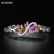 BUDONG 19cm Infinity Bracelet for Women Silver color Chain Link Bracelet Colored Crystal Cubic Zirconia Wedding