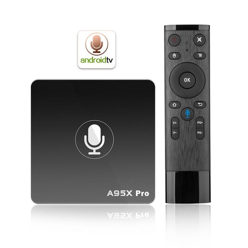 Google Voice Control Android 7.1 TV Box Amlogic S905W Quad Core 2GB RAM 16GB Wifi 4K Media Player Youtube Stalker KODI A95X Pro android tv box w9 2gb 16gb android 5 1 amlogic s905 quad core kodi pre installed wifi aluminum 3d media player
