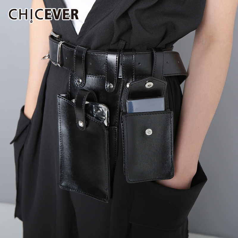 CHICEVER Vintage Dresses Accessories Fashion New Tide High Waist Bag Patchwork PU Leather Belts For Women 2019 Summer