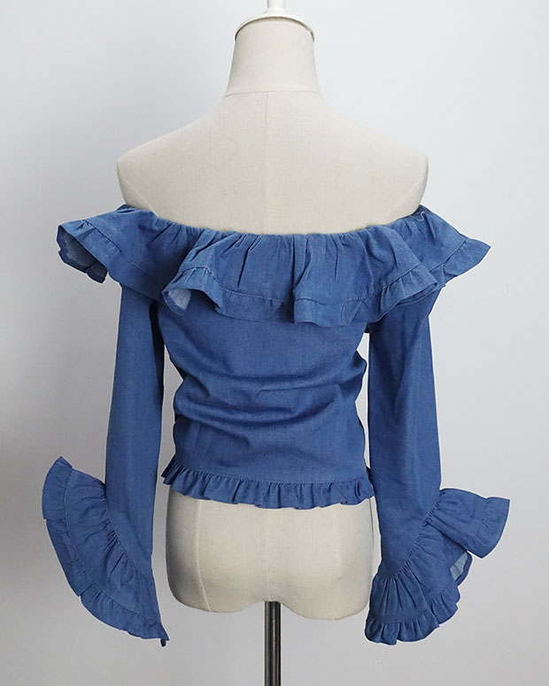 Blusas Slash 2017 Automne Femmes Ruches Cou Mode Wang Streetwear Occasionnels Whitney Sexy Femininas Shirt Blouse Denim 4YBOn5