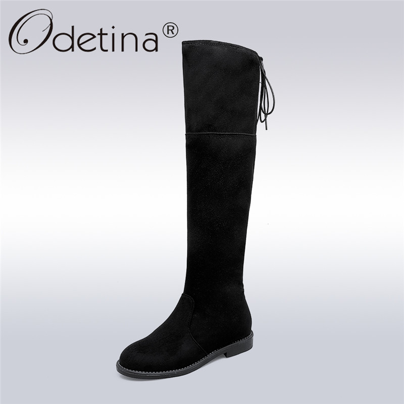 Odetina 2017 New Fashion Faux Suede Over The Knee Boots Lace Up Women Thigh High Boots Low Heel with Plush Winter Warm Shoes Zip womens lace up over knee high suede women snow boots fashion zipper round toe winter thigh high boots shoes woman
