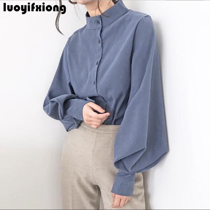 New 2019 Fashion   Blouse   Women Stand Collar   Shirt   Large Lantern Sleeve Kimono Cardigan Womens Tops and   Blouses   Vogue Women   Shirts