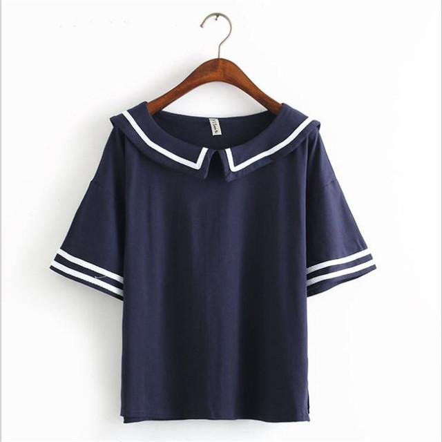 Feliz Bonita Feminino camiseta Verão Estilo Marinheiro da Marinha T-shirt de Algodão Mulheres Tops Bonito Japonês Uniforme Da Escola Para Meninas 3 cores