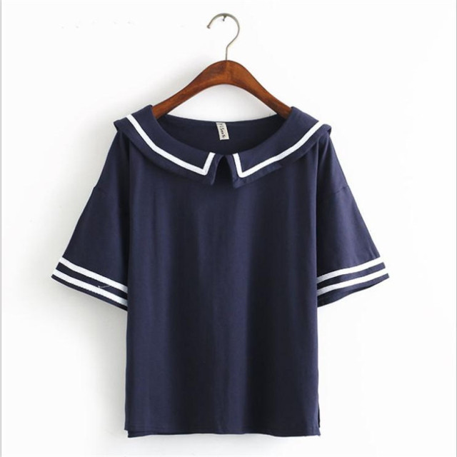 Merry Pretty Female Summer T shirt Navy Sailor Style Cotton T-shirt Women Tops Cute Japanese School Uniform For Girls 3Colors