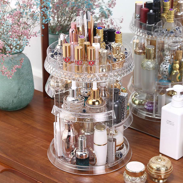 360-degree Rotating Adjustable Cosmetic Storage Rack Desktop Makeup Brushes Tools Jewelry Holder Shelf Home Organizer Case