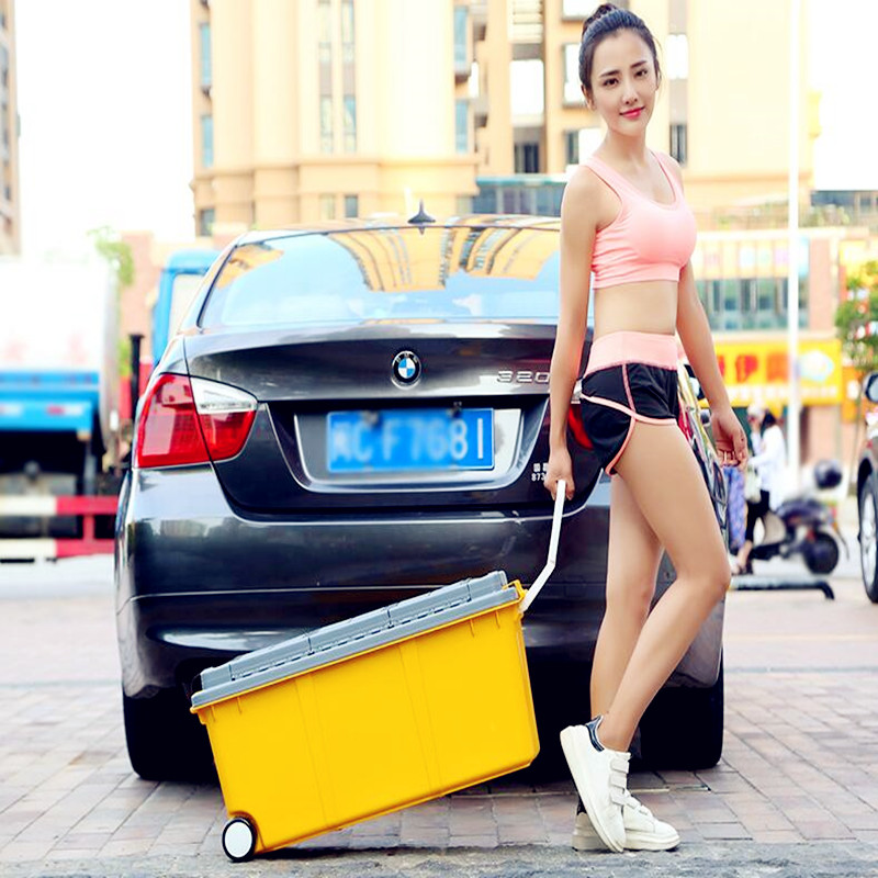 2018 Car trunk Storage box Separate design storage containers Car mounted supplies moving boxes with rod and pulley for travel