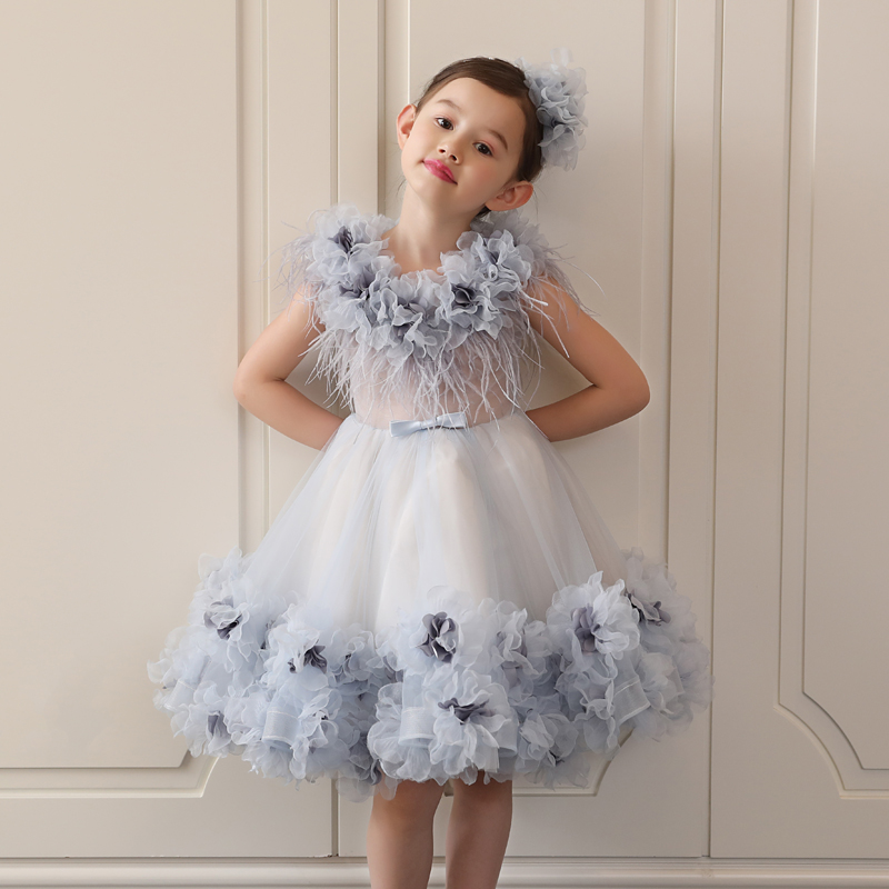 Princess Dress Appliques Ball Gown Wedding Party Kids Pageant Dresses Luxury Girls Holy Communion Dress Long Trailing D162 luxury blue appliques girls pageant dresses ball gown children birthday wedding party dress teenage princess gown custom made