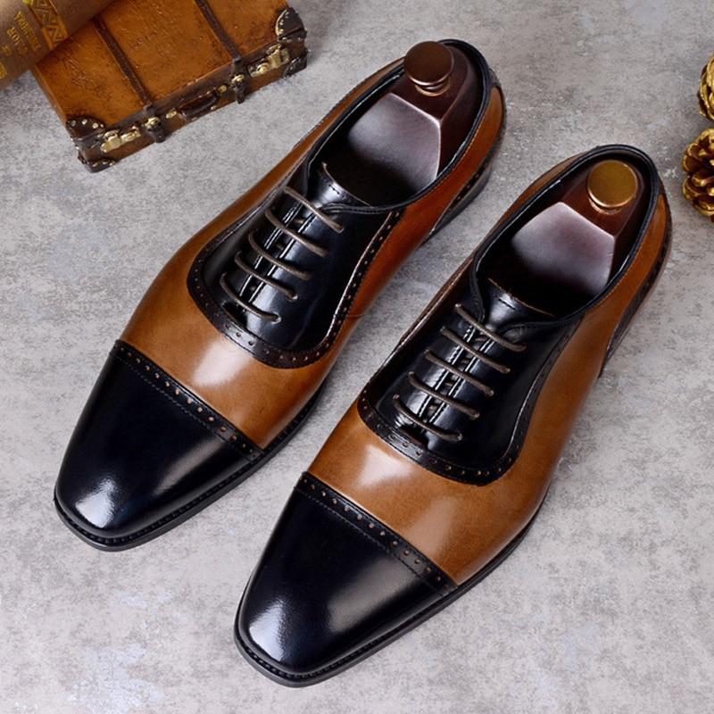 2019 ผู้ชายสบาย lace   up casual รองเท้าผู้ชาย oxfords ยี่ห้อรองเท้าผู้ชายหนังผู้ชายรองเท้า sapatos masculino-ใน ออกซ์ฟอร์ดส จาก รองเท้า บน   2