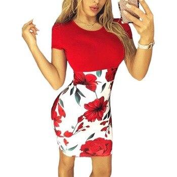 Summer Sexy Slim Bodycon Mini Party Dress Casual  Short Sleeve Splice Print Dress Knitted Vestidos 5XL Plus Size Women Clothing 2