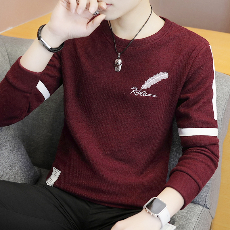 2018 Men  Teenagers Cultivate One's Morality Printed Striped Sweater Round Collar Render Unlined Upper Garment Sweater