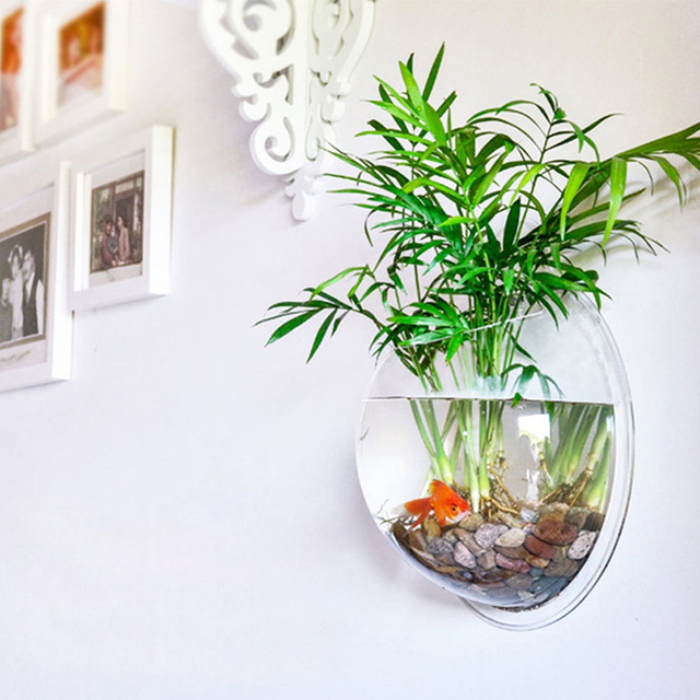 Home Decoration Transparent Plants Flower Pot Wall Hanging Vases