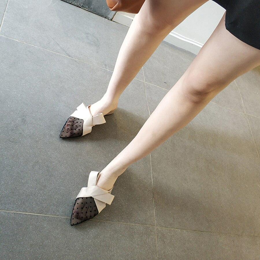 Talon Chunky Soie Dames Pantoufles Mules Bowtie Faminino Stylesowner 4 Sexy Cm Dot Noir En Chaussures Dehors Baotou Polka apricot Diapositives Maille Patchworh xavxCZF
