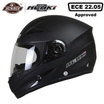 NENKI  Black Motorcycle Helmet Moto Full Face Retro Scooter Helmets Motorbike Riding Helmet Men Motocross Helmet Casco Moto