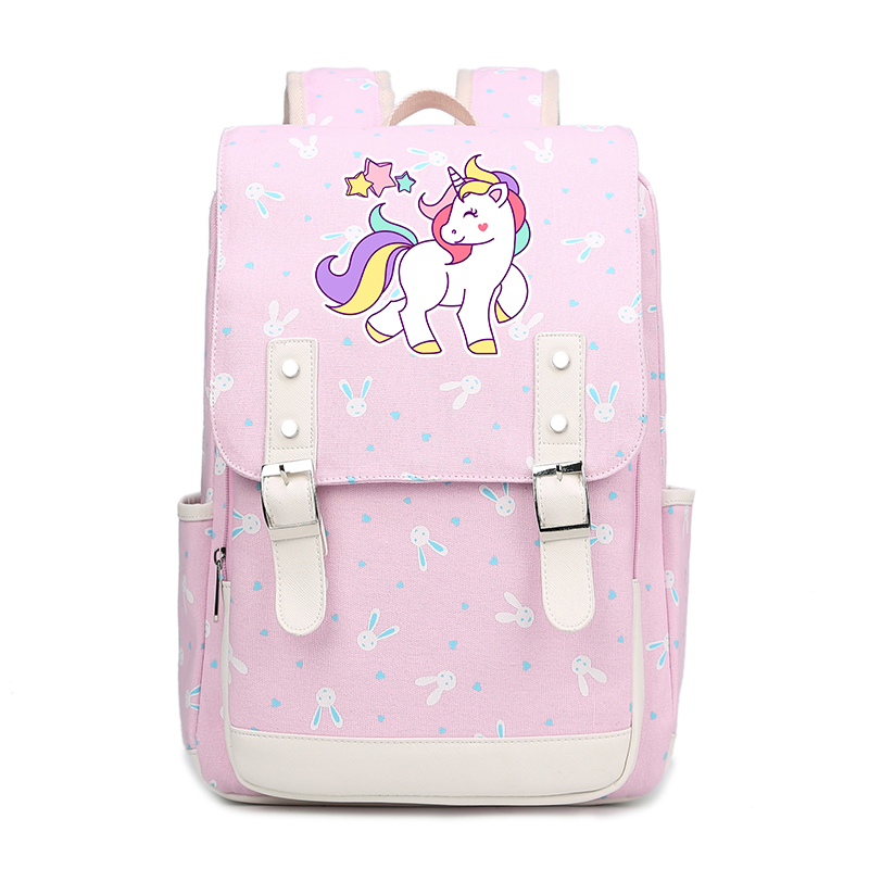 f724fe1a518c 2018 Preppy Style Kawaii School Bags for Teenage Girls Rainbow Unicorn  Printing Backpack Women Travel Backpack Canvas Bags