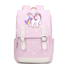 Preppy Kawaii Unicorn School Bags for Teenage Girls Rainbow Printing Backpack Women Travel Canvas Pink