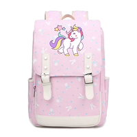 Preppy Kawaii Unicorn School Bags for Teenage Girls Rainbow Unicorn Printing Backpack Women Travel Backpack Canvas Pink Bags