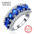 YANHUI New Fashion Women 925 Silver Sterling Ring 10KT Vintage Party Created Sapphire Engagement Wedding Rings Jewelry HR132