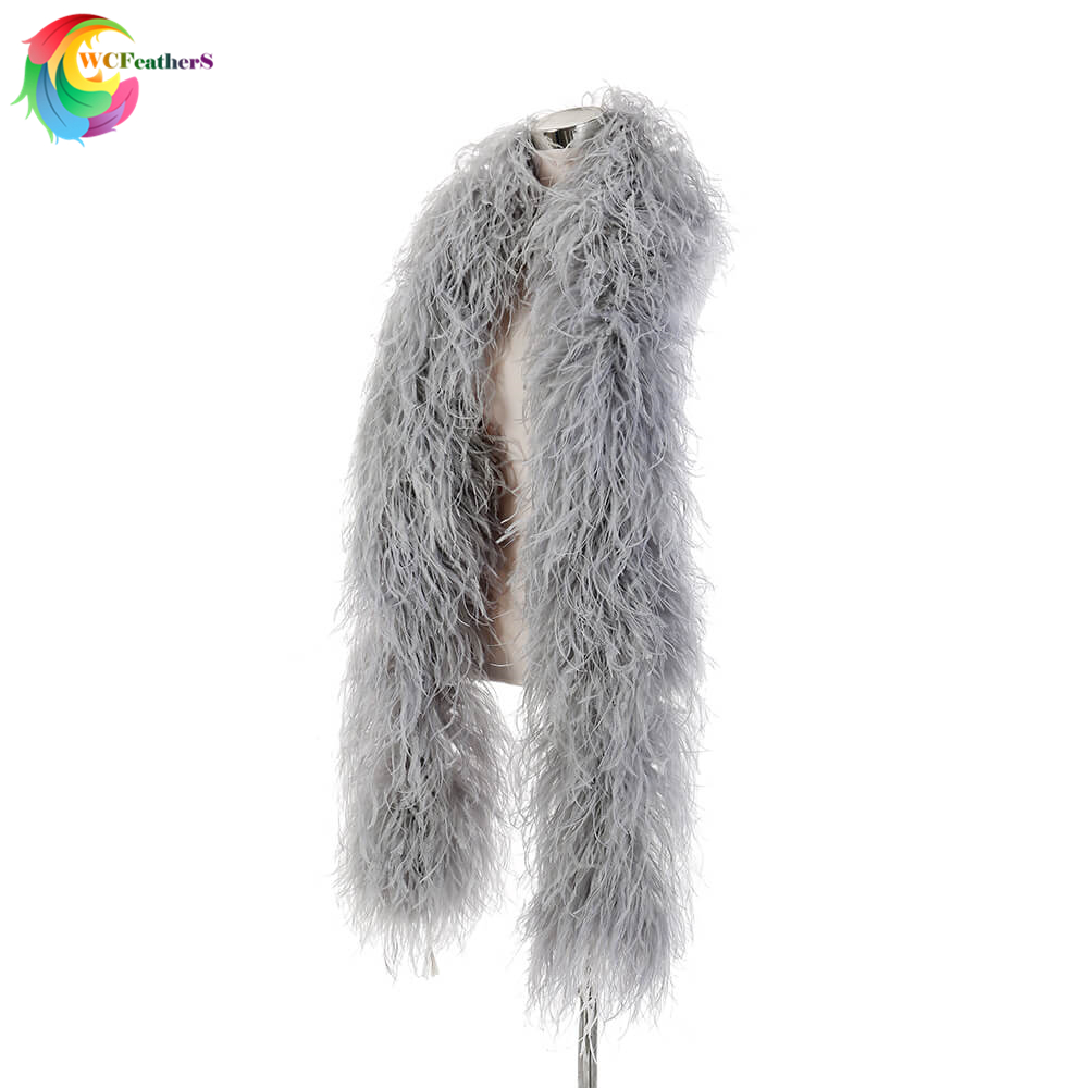 2 meters elegant High quality silver gray Ostrich feather shawl 10ply Encrypted Ostrich feather boa Wedding