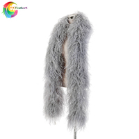 2 meters elegant High quality silver gray Ostrich feather shawl 10ply Encrypted Ostrich feather boa Wedding decoration