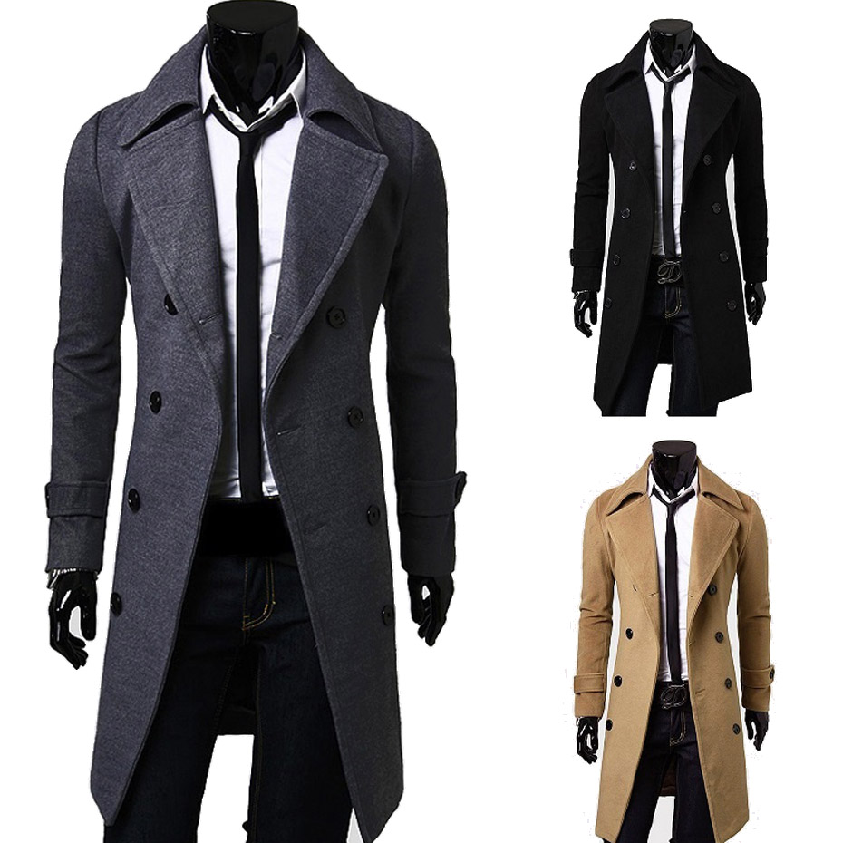 2019 New Mens wool coat men  Double-breasted Mens Overcoat Long Sleeve Men Coat Winter Slim Solid Male Trench Coat(China)