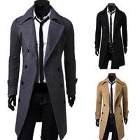 2019 New Mens wool coat men Double breasted Mens Overcoat Long Sleeve Men Coat Winter Slim Solid Male Trench Coat
