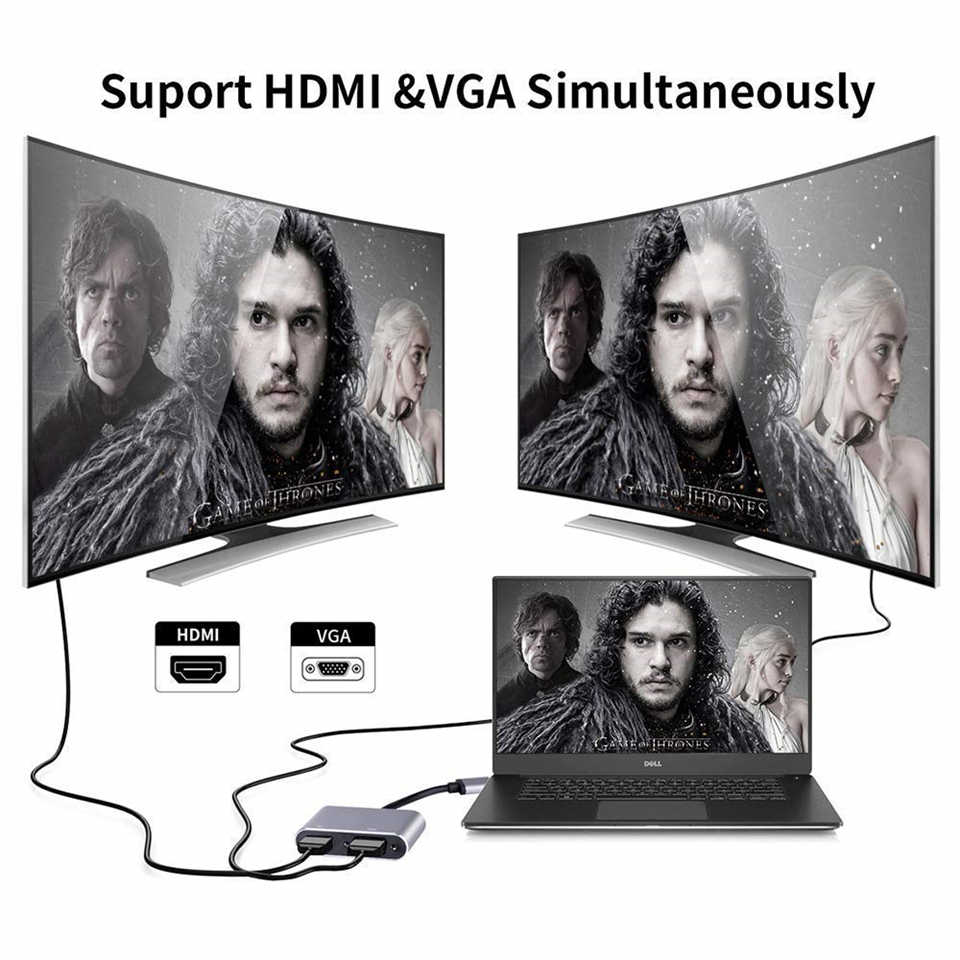 高品質 USB 3.0 hdmi VGA アダプタデュアルディスプレイ USB vga HDMI 変換ケーブル 1080 1080P MacBook windows 7/8/10 コンピュータ