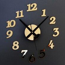 Reloj de pared de cuarzo con números creativos Vintage DIY autoadhesivo acrílico para decoración de sala de estar 3D reloj de arte Digital para decoración del hogar