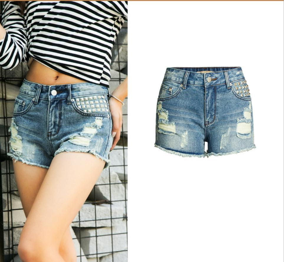 2019 Womens Sumemr Vintage Tassel Rivet Ripped Middle Waisted   Short   Jeans Punk Sexy Hot Woman Denim   Shorts   Size 32/42 J2810