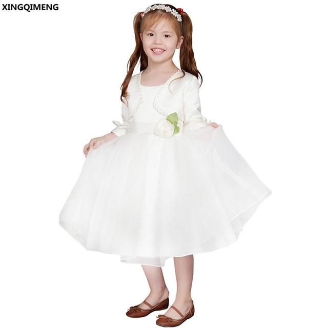 bbcb000465f21 Fleur Fille Robes avec Veste Perlée Première Sainte Communion Robes Satin  Petites Dames Robe Belle Pageant