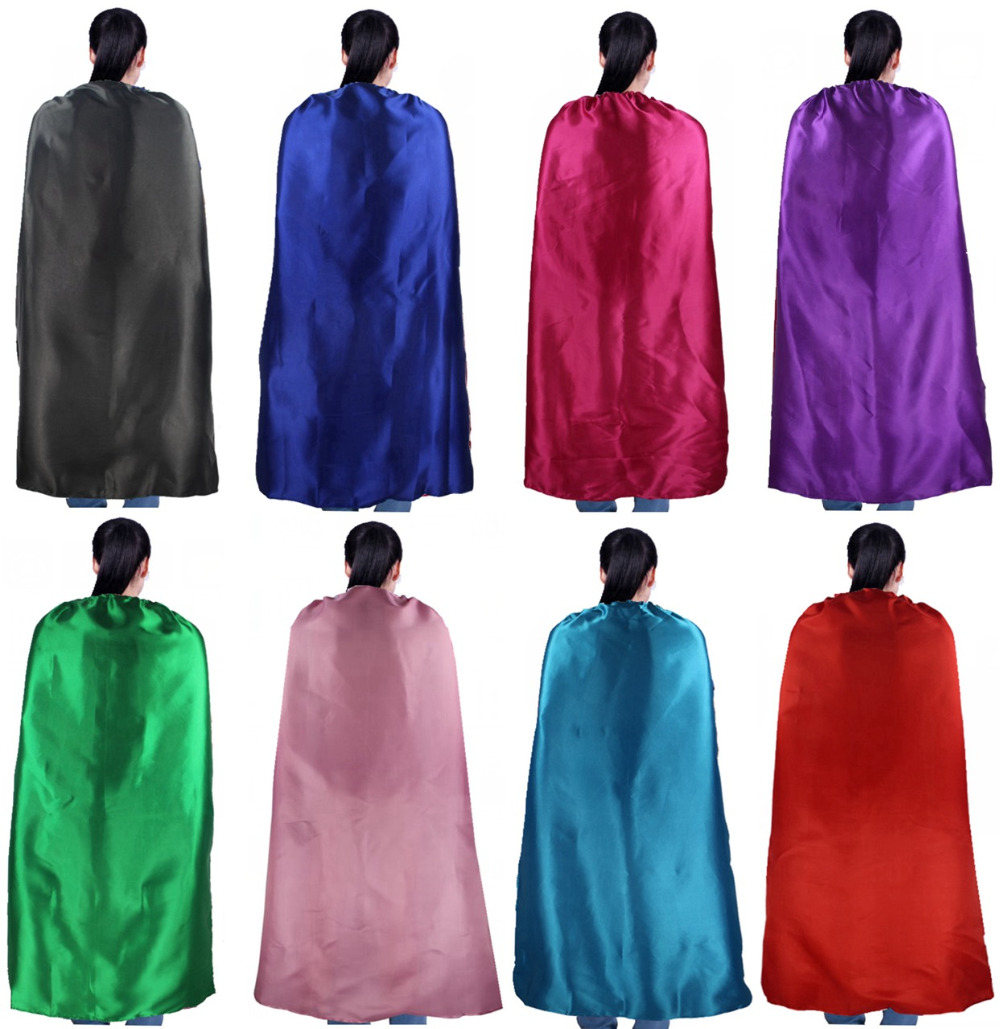 PLAIN COLOR 70 * 120cm singel satin kostym Halloween Cosplay Vuxen Caps Anpassa Team Building Promotional