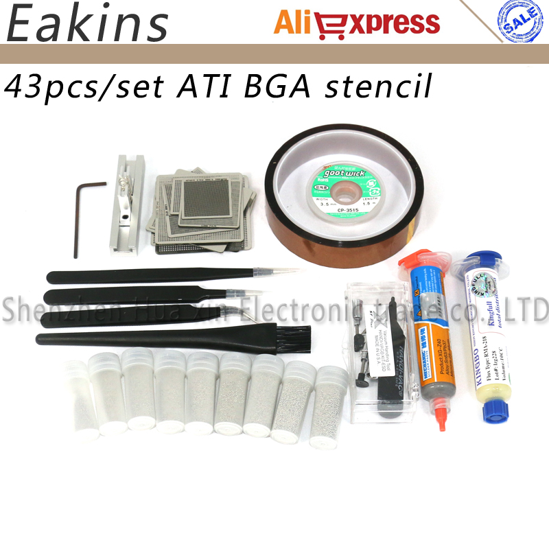 43pc a/set Nvidia Chip Direct heating BGA Stencil BGA Reball Kit Bga Reballing Stencil Kit solder paste+BGA soldering wick 3d ic chip bga reballing stencil kits set solder template for iphone a8 a9 a10 high quality