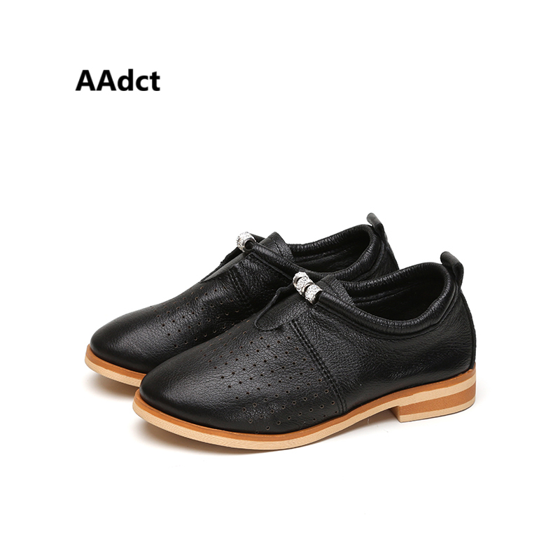AAdct Genuine leather girls shoes spring autumn new hole kids shoes for girls High-quality Brand children shoes