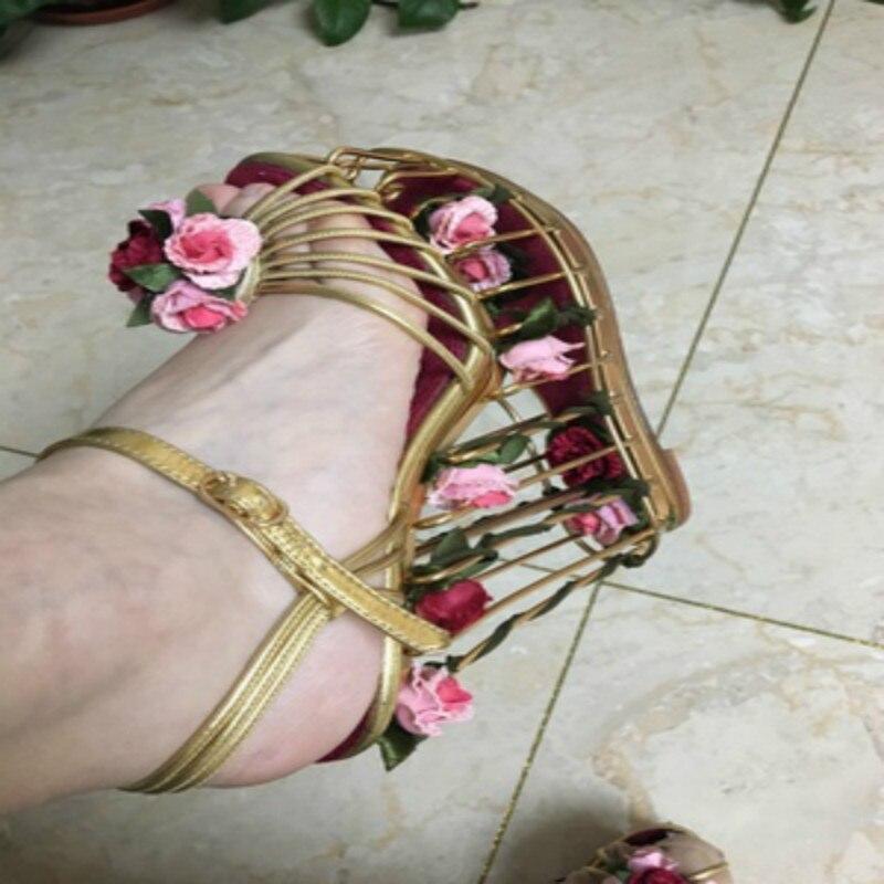 Frühling Sommer Neue Frauen Schuhe Mode Luxus Tie up Birdcage Hochzeit T gebunden Schuhe Hochwertige Angepasst Hohe schuhe mit hohen absätzen - 6