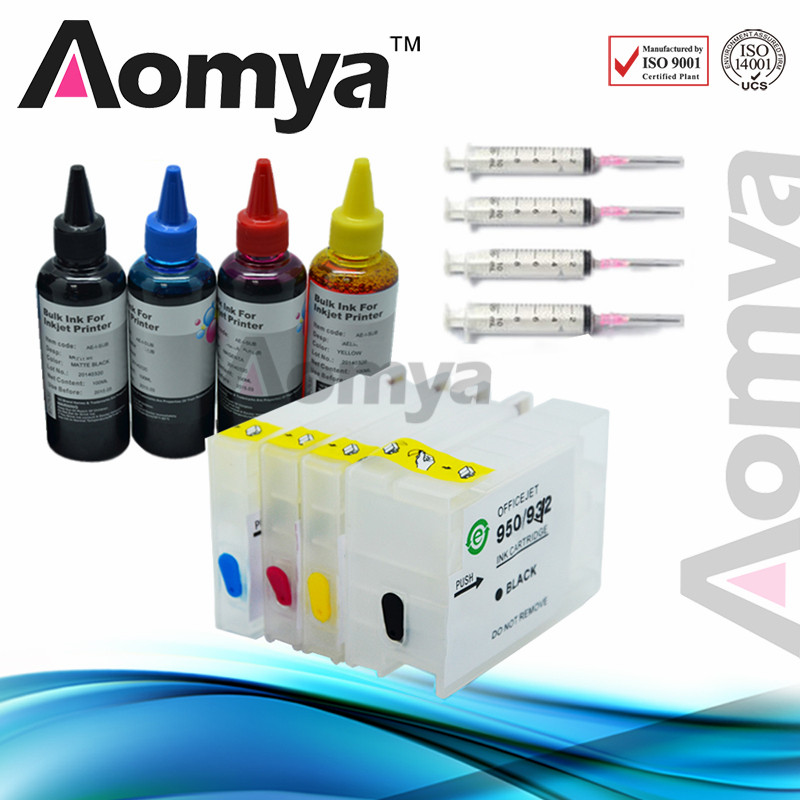 Aomya Empty Refillable Cartridge Compatible for HP 932 933 with Chips with 400ml Ink Refill kit