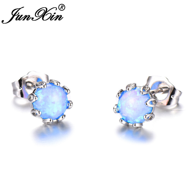 JUNXIN Boho Female Mystic Birthstone Round Stud Earrings For Women Silver Color Blue White Fire Opal Earrings Gift