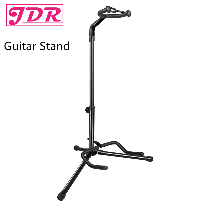 JDR Universal Guitar Stand in Black Folding Tripod Stand for Acoustic Classical Electric Guitar Stand and Bass Holder 60cm iron eva electric guitar wall hanger horizontal acoustic guitarra holder bass stand rack hook guitar parts
