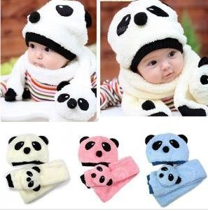 e209aee4b7f Free shipping 1 Set 5 color baby hat + scarf combination cute Cotton panda baby  cap infant hat Beanie kids Hats-in Hats   Caps from Mother   Kids on ...