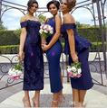 Navy Blue Maid Of Honor Bridesmaid Dresses Sheath Lace Off Shoulder Sexy Wedding Guest Dress Tea Length With Back Split   BD155