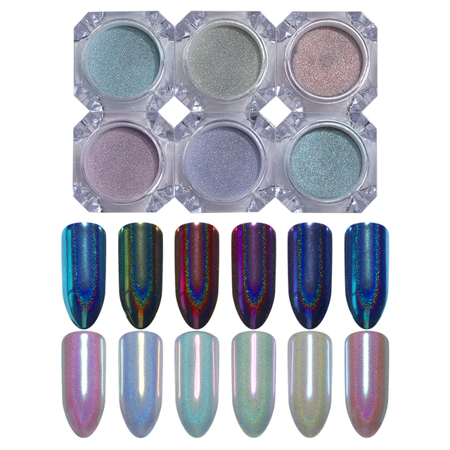 Nail Glitter Powder Chameleon Mirror Holographic Shimmer Glitter Paillette Pigment Powder 0.5g For UV Gel Polish Decoration