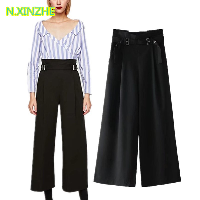 2018 women clothing solid color high waist belt black   wide     leg     pants   Female high street casual loose cotton trousers K1195