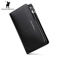 WILLIAMPOLO 2018 Long Men Wallet Male Leather Travel Credit Card Wallet Men's Business Zipper Cell Phone Pocket Handbag POLO239