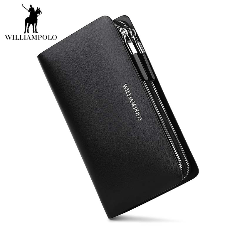 WILLIAMPOLO 2018 Long Men Wallet Male Leather Travel Credit Card Wallet Mens Business Zipper Cell Phone Pocket Handbag POLO239WILLIAMPOLO 2018 Long Men Wallet Male Leather Travel Credit Card Wallet Mens Business Zipper Cell Phone Pocket Handbag POLO239