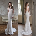 2017 Sexy Vintage Lace Mermaid Wedding Dresses Backless Sheer Long Sleeves Bridal Gowns Handwork Robe Mariage 2017 Wedding Dress