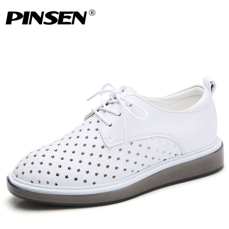 PINSEN 2018 Spring Women Flat Platform Shoes Genuine Leather White Oxfords Shoes Woman Lace Up Flats Shoes Creepers Moccasins hee grand 2017 creepers platform casual shoes woman lace up oxfords spring flats fashion solid women shoes xwd4890