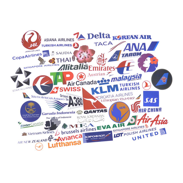 New style 52pcs airline logo high quality stickers aviation travel trip for suitcase laptop decal fashion