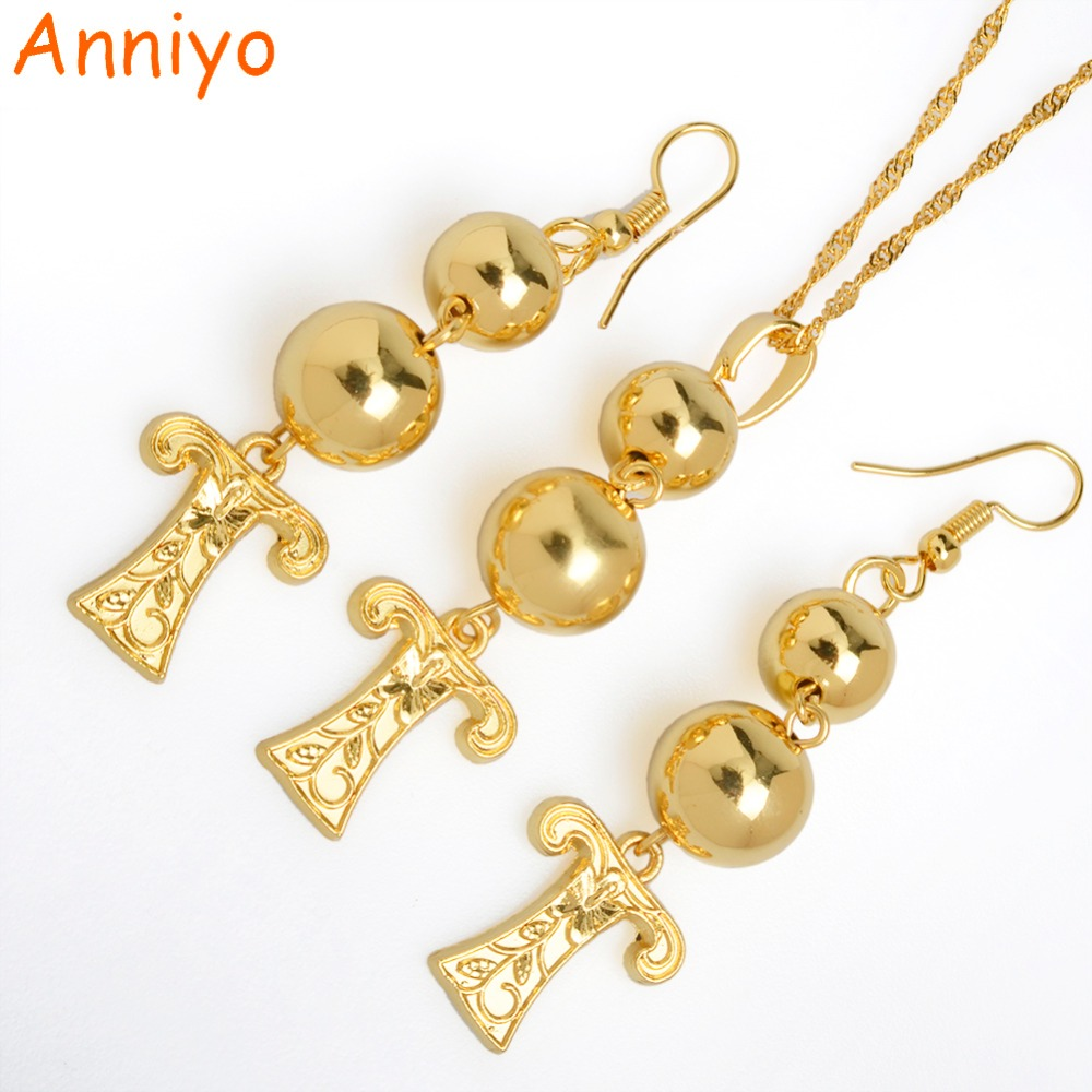 Anniyo (tz) Letters Bead Pendant & Earrings Gold Color Initial Chain For  Women,ball Necklace English Letter Jewelry #069206(7)