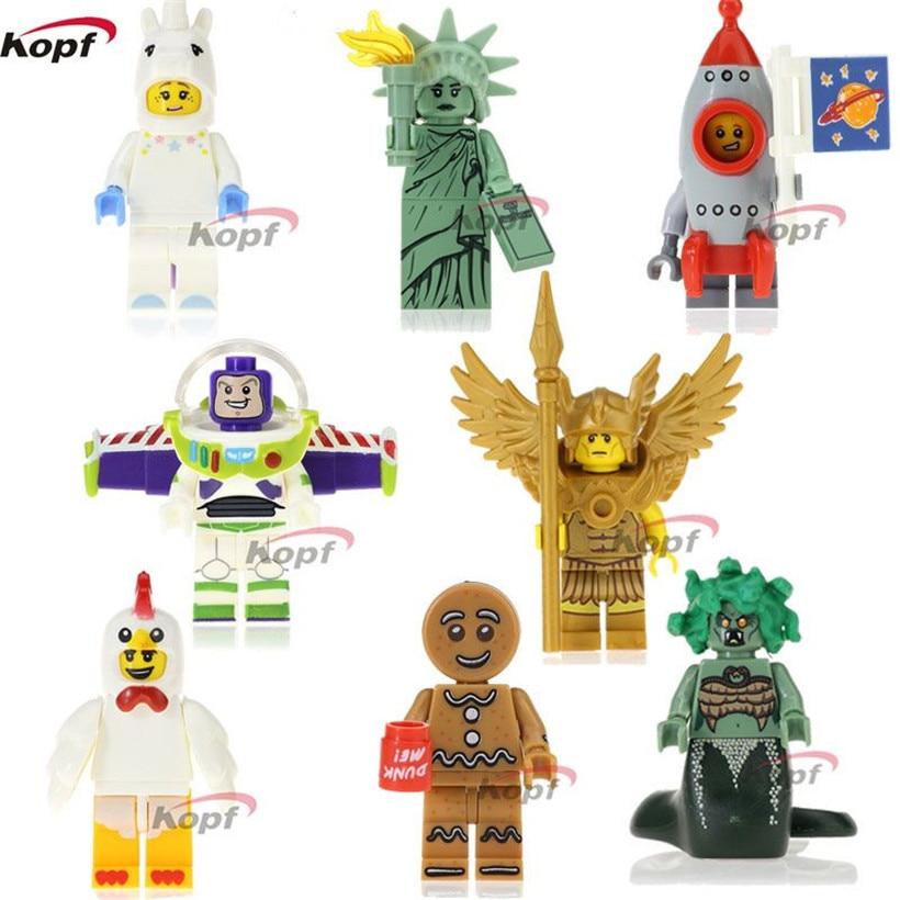 Buzz Lightyear Gingerbread Chicken Unicorn Man Flying Warrior Rocket Boy Building Blocks Super Heroes Toys for children PG8061