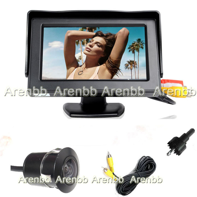 Wire 4.3Inch car LCD monitor on dashboard installation+Embed mini backup camera  rear view ccd hd camera system parking lane