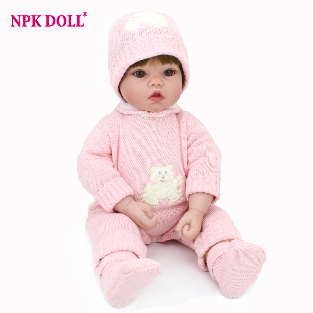 NPKDOLL 50cm 20 Soft Silicone Doll Reborn Baby Handmade BeBe Reborn Toy For Girls Newborn Girl Baby Birthday Gift For Child handmade 18 cute china girl doll reborn baby doll sd bjd doll best bedtime playhouse toy enducational toy for girls as gift