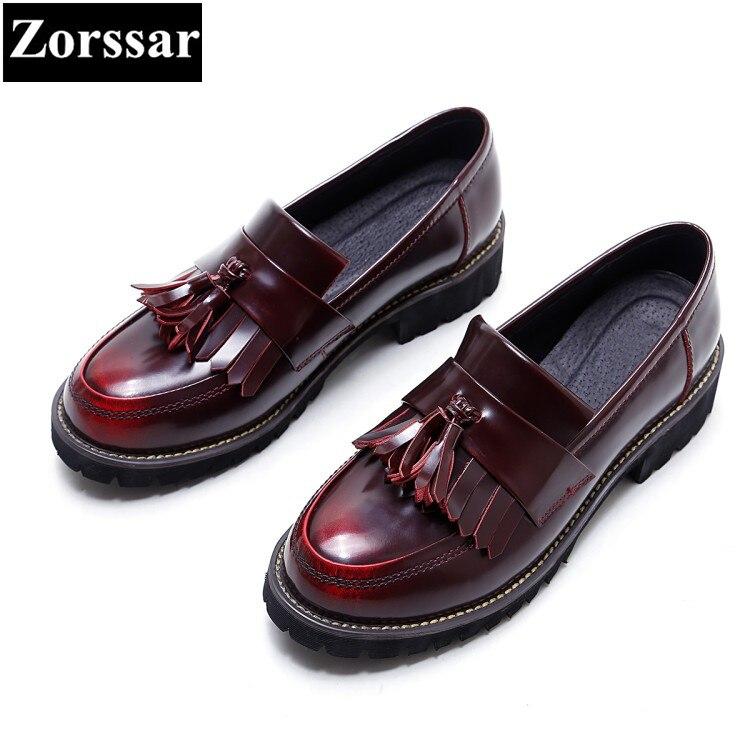 ФОТО 2017 Patent Leather Flat Oxford Shoes Women Platform Shoes Fashion Tassel Slip-On Round toe Creeper Shoes Womens Flats shoes